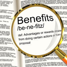 "magnifying glass over the word ""benefits"""