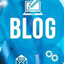 "The word ""blog"" on blue background"