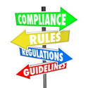 "sign post with signs reading ""compliance,"" ""rules,"" ""regulations,"" and ""guidelines"""